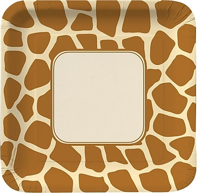 """""Creative Converting Giraffe 9"""""""" Square Dinner Plates, 8/Pack"""""" 1005729"