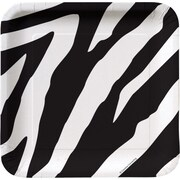 "Creative Converting Zebra 7"" Square Luncheon Plates, 8/Pack"