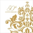 "Creative Converting Golden ""50th Anniversary"" 3-Ply Luncheon Napkins, 36/Pack"