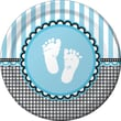 """Creative Converting Sweet Baby Feet Blue 9"""" Round Dinner Plates, 8/Pack"""