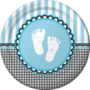 "Creative Converting Sweet Baby Feet Blue 9"" Round Dinner Plates, 8/Pack"