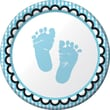 """Creative Converting Sweet Baby Feet Blue 7"""" Round Luncheon Plates, 8/Pack"""