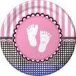 """Creative Converting Sweet Baby Feet Pink 9"""" Round Dinner Plates, 8/Pack"""
