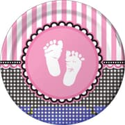 "Creative Converting Sweet Baby Feet Pink 9"" Round Dinner Plates, 8/Pack"