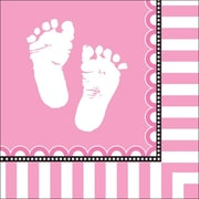 Creative Converting Sweet Baby Feet Pink 3-Ply Luncheon Napkins, 16/Pack