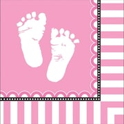 Creative Converting Sweet Baby Feet Pink 3-Ply Beverage Napkins, 16/Pack