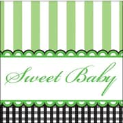 Creative Converting Sweet Baby Feet Green 3-Ply Beverage Napkins, 16/Pack