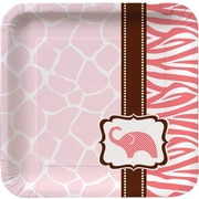"Creative Converting Wild Safari Pink 7"" Square Luncheon Plates, 18/Pack"
