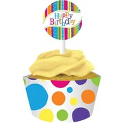 "Creative Converting 4""W x 11.5""H Bright and Bold Cupcake Wrappers with Picks"