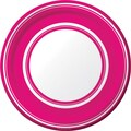 Creative Converting Hot Magenta Stripe 7in. Round Luncheon Plates, 8/Pack