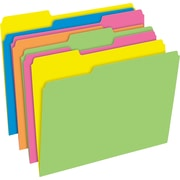 Pendaflex Glow Twisted File Folders, Assorted Colors, 3Tab, Letter-Size, 8 1/2H x 11W, 12/Pk