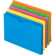 Pendaflex Glow Poly File Jackets, Assorted Colors, Straight Cut, Letter-Size, 8 1/2H x 11W, 5/Pk