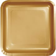 "Creative Converting Glittering Gold 9"" Square Dinner Plates, 18/Pack"