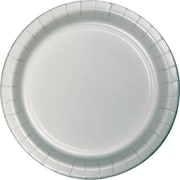 "Creative Converting Shimmering Silver 7"" Round Luncheon Plates, 24/Pack"