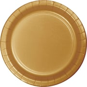 "Creative Converting Glittering Gold 7"" Round Luncheon Plates, 24/Pack"