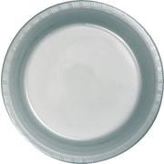 "Creative Converting Shimmering Silver 7"" Round Luncheon Plates, 20/Pack"