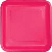 """Creative Converting Hot Magenta 7"""" Square Luncheon Plates, 18/Pack"""
