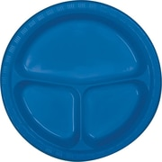 Creative Converting Divided True Blue 10 Round Banquet Plates, 20/Pack
