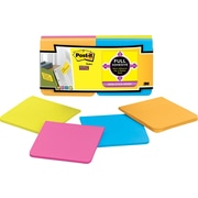 "Post-it® Super Sticky Full Adhesive 3"" x 3"" Rio De Janiero Notes, 12 Pads/Pack"