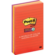 "Post-it® Super Sticky 4"" x 6"" Line-Ruled Assorted Marrakesh Notes, 3 Pads/Pack"