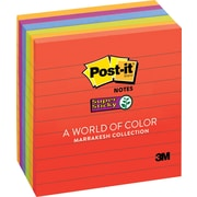 "Post-it® Super Sticky Notes, 4"" x 4"", Marrakesh Collection, Lined, 6 Pads/Pack (675-6SSAN)"
