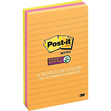 Post-it® Super Sticky 4in. x 6in. Line-Ruled Rio De Janiero Notes, 3 Pads/Pack