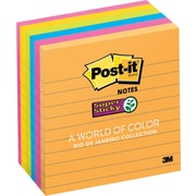 "Post-it® Super Sticky 4"" x 4"" Line-Ruled Rio De Janiero Notes, 6 Pads/Pack"