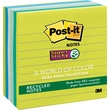 "Post-it® Super Sticky 4"" x 4"" Line-Ruled Bora Bora Notes, 6 Pads/Pack"