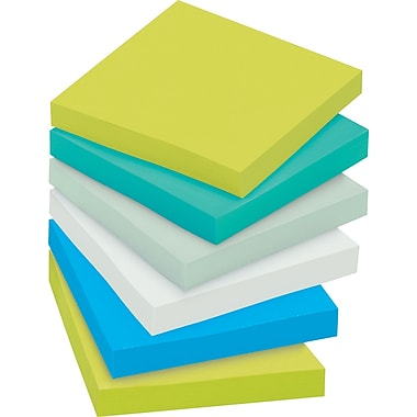 Post-it® Super Sticky 3in. x 3in. Recycled Bora Bora Notes, 12 Pads/Pack