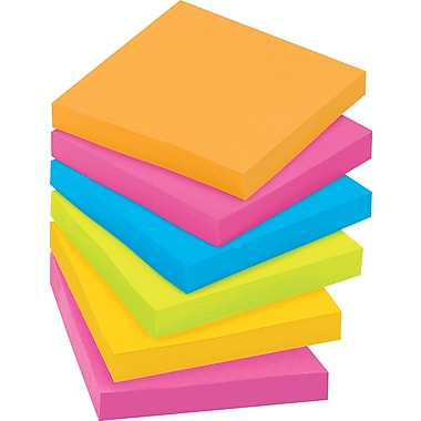 Post-it® Super Sticky 3in. x 3in. Rio De Janiero Notes, 12 Pads/Pack
