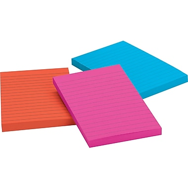 Post-it® 4in. x 6in. Line-Ruled Jaipur Colors Notes, 3 Pads/Pack