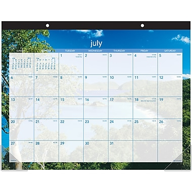 AT-A-GLANCE® Tropical Escape Recycled Academic Monthly Desk Pad Calendar, 22in. x 17in., 2014-2015