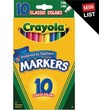 Crayola® Classic Markers, Fine Line, 10/Box
