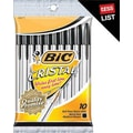 BIC Cristal Ballpoint Pens, Medium Point 1.0mm, Black Ink, 10/Pack