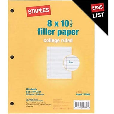 Staples College Ruled Filler Paper, 8in. x 10-1/2in.