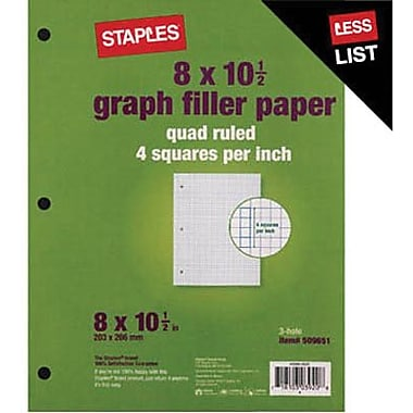 Staples Graph Ruled Filler Paper, 8in. x 10-1/2in.