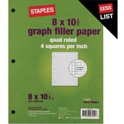 Staples® Graph Ruled Filler Paper, 8 x 10-1/2