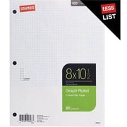 Staples® Graph Ruled Filler Paper, 5x5, 8 x 10-1/2, 80 Sheets