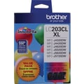 Brother LC203 Color C/M/Y Ink Cartridges High Yield (LC2033PKS), 3/Pack