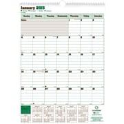 2015 Blueline® DuraGlobe® Monthly Wall Calendar, Sugarcane based paper, 12 x 17