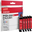 Staples Remanufactured Black and C/M/Y Color Ink Cartridges, Canon PGI-250/CLI-251 (SIC-R250X251MP), Combo 4/Pack