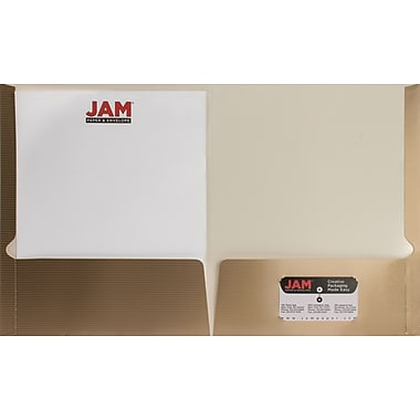 JAM Paper® 9 1/4in. x 11 1/2in. Two Pocket Glossy Folder w/Horizontal Pinstripe, Gold, 100/Box