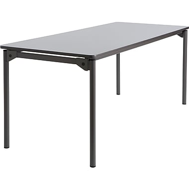 Maxx Legroom Wood Folding Table 30x72, Gray