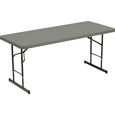 DBM Iceberg 8' Adjustable Height Resin Folding Table, Charcoal