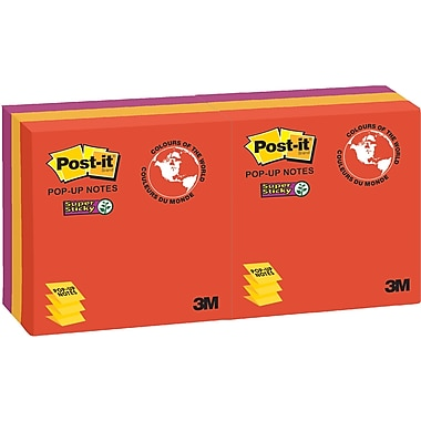 Post-it® - Feuillets adhésifs Super Sticky en éventail, Collection Marrakesh, 3 po x 3 po, bloc/90 feuilles, paq./6
