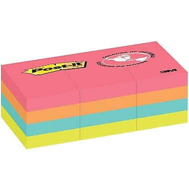 Post-it® - Feuillets, Collection Cape Town, 1,5 po x 2 po, bloc/100 feuilles, paq./12