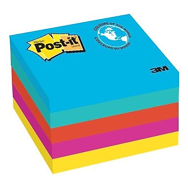 Post-it® - Feuillets, Collection Jaipur, 3 po x 3 po, bloc/100 feuilles, paq./5
