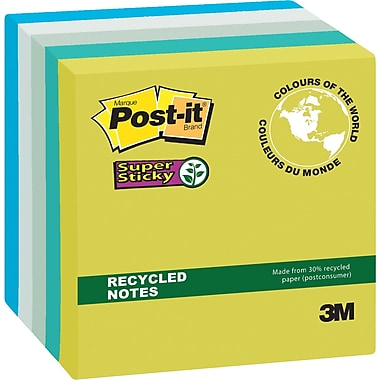 Post-it® Super Sticky Recycled Notes, Bora Bora Collection, 3
