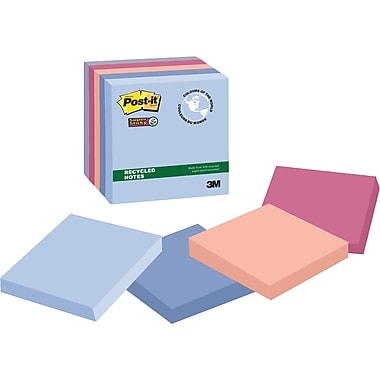 Post-it® - Feuillets adhésifs Super Sticky, Collection Bali, recyclés, 3 po x 3 po, bloc/90 feuilles, paq./5