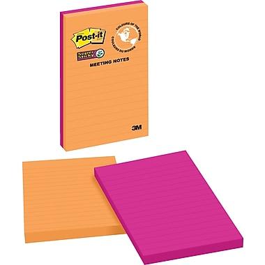 Post-it® - Feuillets adhésifs réglés Super Sticky, Collection Rio de Janeiro, 5 po x 8 po, bloc/45 feuilles, paq./2